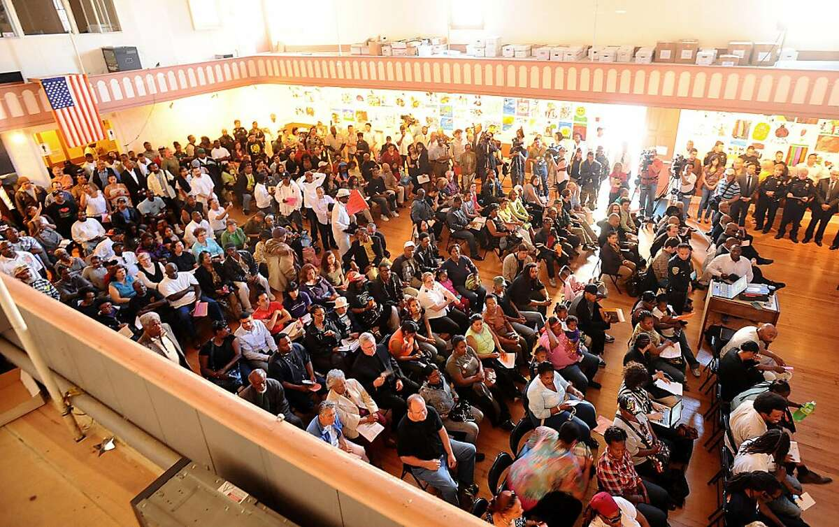 About 300 people, many upset about the police shooting of Kenneth Wade Harding, gather for a community meeting on Wednesday, July 20, 2011, in San Francisco.