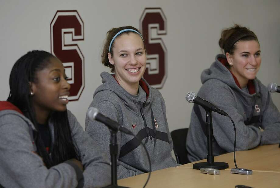 From left to right, Stanford forward Chiney Ogwumike, forward Kayla Pedersen and guard Jeanette Pohlen smile during a NCAA college basketball news conference in Stanford, Calif., Wednesday, March 30, 2011. Stanford will play Texas A&M in the Final Four onSunday. Photo: Paul Sakuma, AP