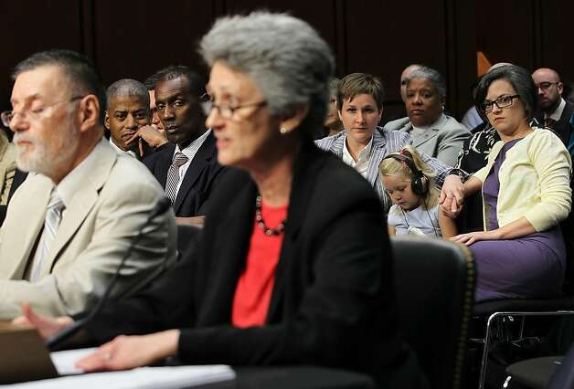 WASHINGTON - JULY 20:  Susan Murray (C) of Ferrisburgh, Vermont, testifies as (L-R) Reggie Stanley and husband Rocky Gallowy, Lea Matthews and partner Rachel Black and their three-year-old daughter Nora Matthews listen during a hearing before the Senate Judiciary Committee July 20, 2011 on Capitol Hill in Washington, DC. The hearing was to assess the impact of the Defense of Marriage Act on American families. Photo: Alex Wong, Getty Images