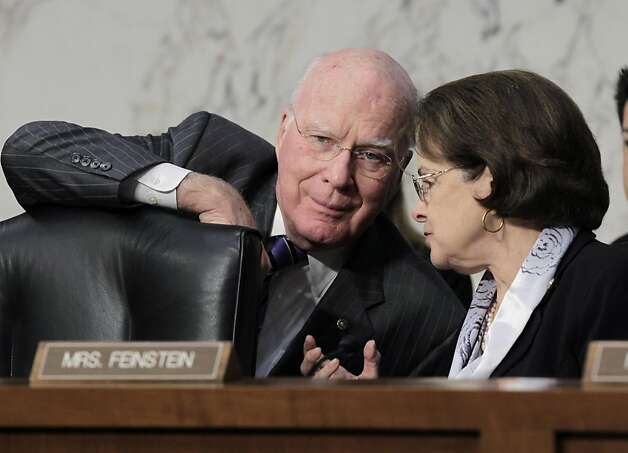 Sen. Patrick Leahy, chairman of the Senate Judiciary Committee, left, confers with Sen. Dianne Feinstein, D-Calif., during a hearing to assess the impact of the Defense of Marriage Act, DOMA, which Feinstein is trying to repeal, on Capitol Hill in Washington, Wednesday, July 20, 2011. Photo: J. Scott Applewhite, AP