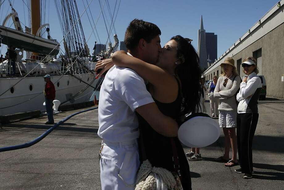 Zaimara Vera rushes to kiss her boyfriend Fabian San Martin as he got off the Chilean Navy ship the Esmeralda in San Francisco Calif.,  on July 21, 2011. Photo: Audrey Whitmeyer-Weathers, The Chronicle