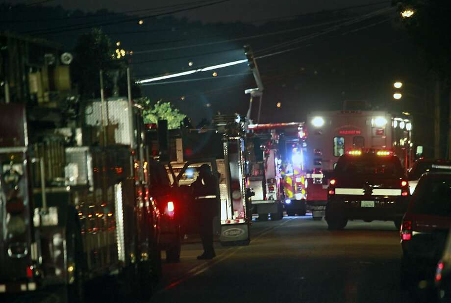 Dozens of fire trucks from seval departments responded to a toxic spill at a home on Baden Ave in South San Francisco Tuesday December 6, 2011. Photo: Lance Iversen, The Chronicle