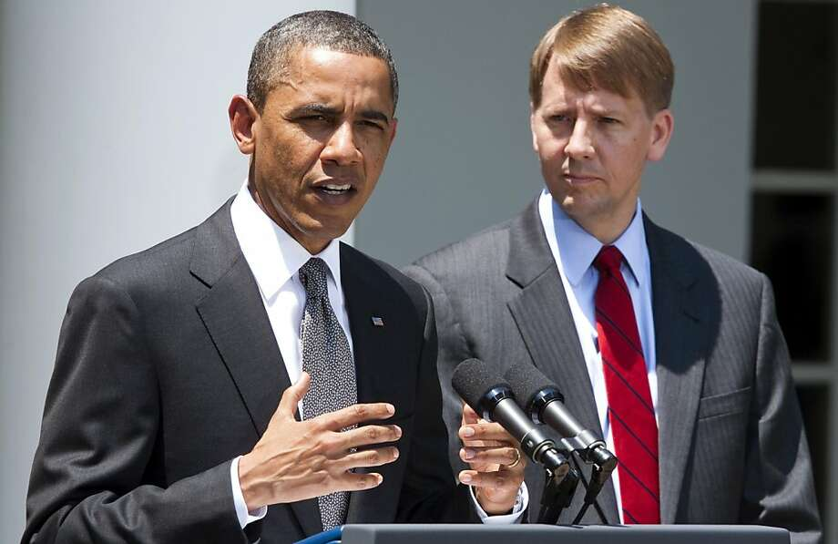"U.S. President Barack Obama announces his nomination of former Ohio Attorney General Richard Cordray, right, to head the Consumer Financial Protection Bureau at the White House in Washington, D.C., U.S., on Monday, July 18, 2011. Obama said his nomination of Cordray to head the bureau puts financial lenders on notice that the government will be looking out for ""regular people."" Photographer: Joshua Roberts/Bloomberg *** Local Caption *** Barack Obama; Richard Cordray Photo: Joshua Roberts, Bloomberg"