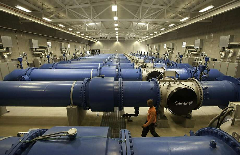 TRACY, CA--- Hetch Hetchy water is treated with UV light in these large pipes at the new state-of -the-art Tesla Water Treatment Facility. The facility was dedicated with the help of SFPUC General Manager Ed Harrington, Assemblywoman Fiona Ma, and Federal and State officials. The facility has a capacity of treating 315 million gallons of water and has a $114 million dollar price tag. Photo: Tomas Ovalle, Special To The Chronicle