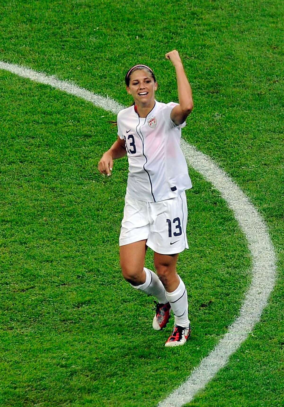 Alex Morgan of United States celebrates after scoring her team's first goal during the FIFA Women's World Cup Final between the United States of America and Japan at FIFA World Cup stadium on July 17, 2011 in Frankfurt, Germany.