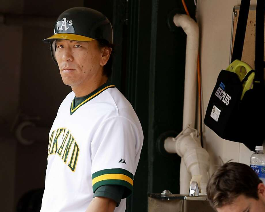 Hideki Matsui, one short of his 500th career home run total, waits for his chance to hit in the A's game against the Los Angeles Angels at the Oakland Coliseum on Sunday. Photo: Brant Ward, The Chronicle