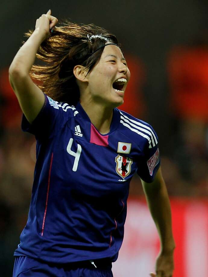 FRANKFURT AM MAIN, GERMANY - JULY 17:  Saki Kumagai of Japan celebrates scoring the last penalty during the FIFA Women's World Cup Final match between Japan and USA at the FIFA World Cup stadium Frankfurt on July 17, 2011 in Frankfurt am Main, Germany. Photo: Friedemann Vogel, Getty Images