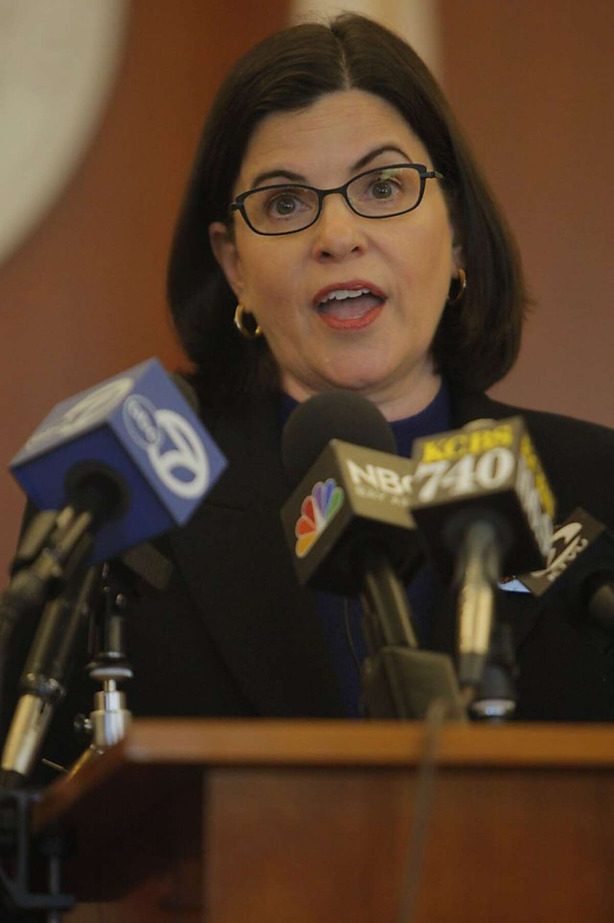 Judge of San Francisco Superior Court Katherine Feinstein held a press conference on Monday, July 18, 2011 in San Francisco Calif., to discuss the budget cuts made to the courts in San Francisco.