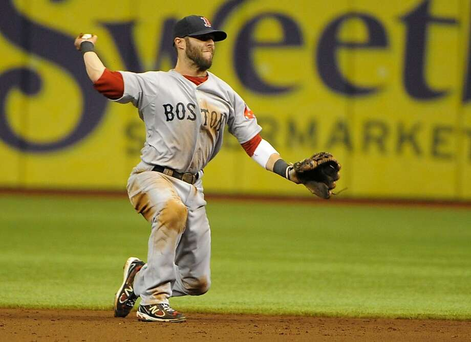 Boston Red Sox second baseman Dustin Pedroia makes the throw to first base to get the out on Tampa Bay Rays' Reid Brignac during the sixth inning of a baseball game Sunday, July 17, 2011, in St. Petersburg, Fla. Photo: Brian Blanco, AP