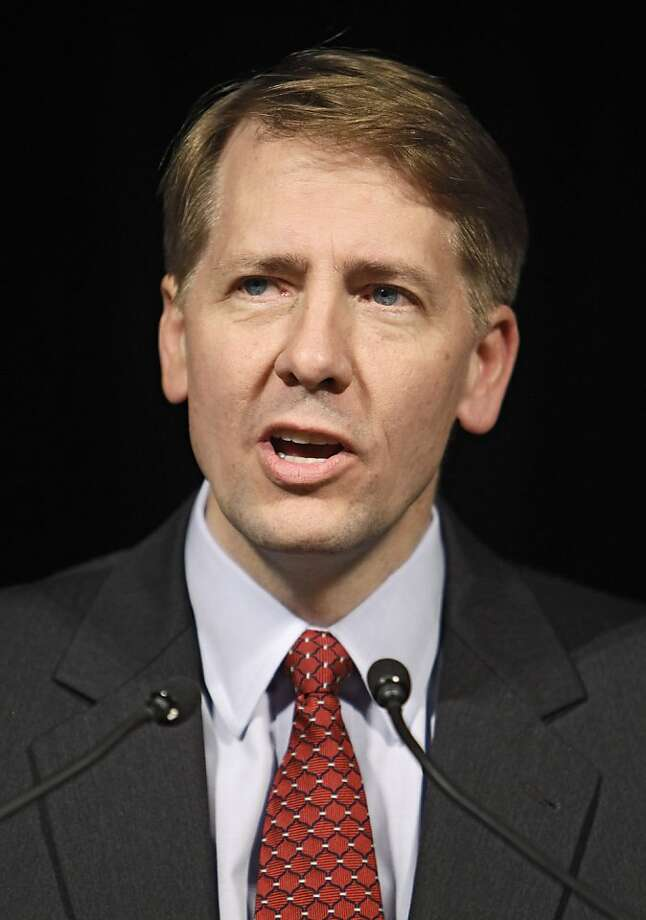 FILE - In this Nov. 3, 2010, file photo then Ohio Attorney General Richard Cordray speaks at a Democratic election night event in Columbus, Ohio. Monday, July 18, 2011, at the White House President Barack Obama intends to nominate Cordray to head a new consumer financial protection bureau, that was a central feature of a law that overhauled banking regulations, administration sources say. (AP Photo/Mark Duncan, File)  Ran on: 07-18-2011 Richard Cordray helped police the financial industry in Ohio. Photo: Mark Duncan, AP