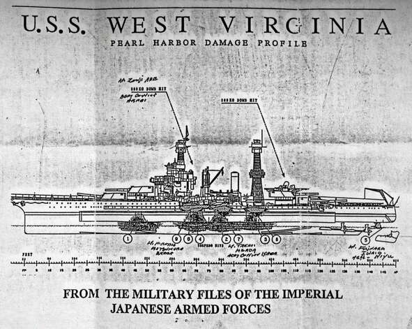 A Japanese diagram of the battleship USS West Virginia after it was attacked on Dec. 7, 1941. (John Carl D'Annibale / Times Union) Photo: John Carl D'Annibale / 00015658A