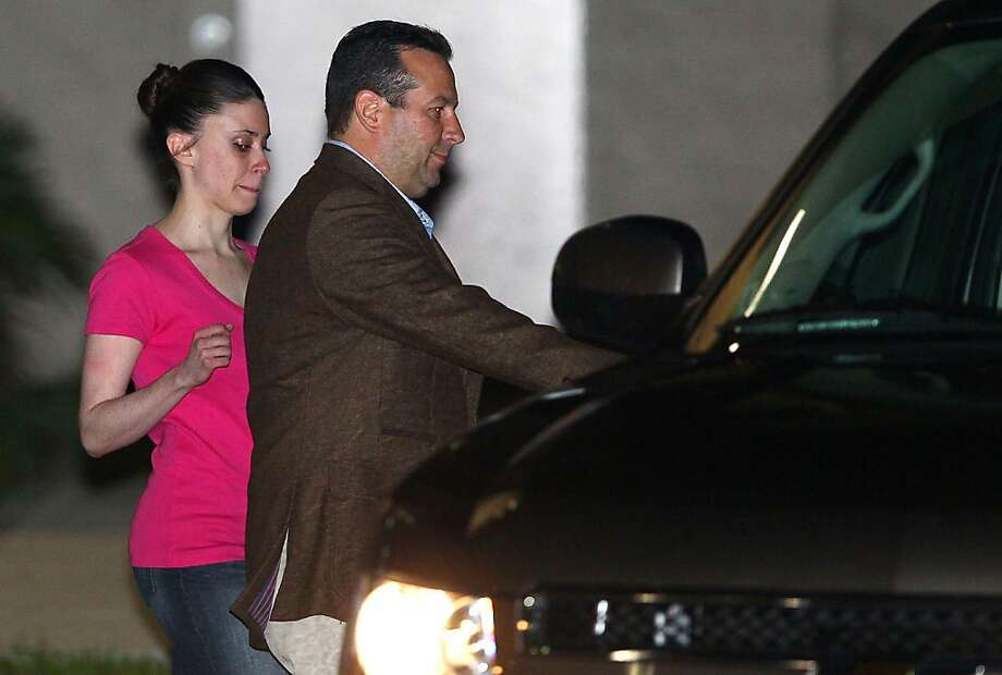 Casey Anthony (L) and her defense attorney Jose Baez leave the Booking and Release Center at the Orange County Jail after she was acquitted of murdering her daughter Caylee Anthony on July 17, 2011 in Orlando, Florida. It was unknown where Casey Anthony was going after the release. Photo: Mark Wilson, Getty Images