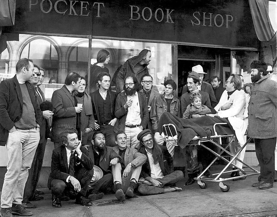 CITYLIGHTS-MT --- Dec. 3, 1965---Literature Poets of S.F. , circa 1965. Conclave of poets assembled at City Lights. Upper Top Row: Stella Levy, lawrence Ferlinghetti. Second standing row: Donald Schenker, Michael Grieg, unknown person, Mike Gibbons, David Miltger, Michael McClure,  Allan Ginsberg, Dan Langton, Steve Brostan, gary Goodraw and son  Homer, Richard Brautigan (in back of Goodrow). Seated:  unknown person, Shig Murao, Lew Welch, Peter Orlovsk.  PETER BREINIG/THE CHRONICLE 1965 Photo: Peter Breinig, The Chronicle