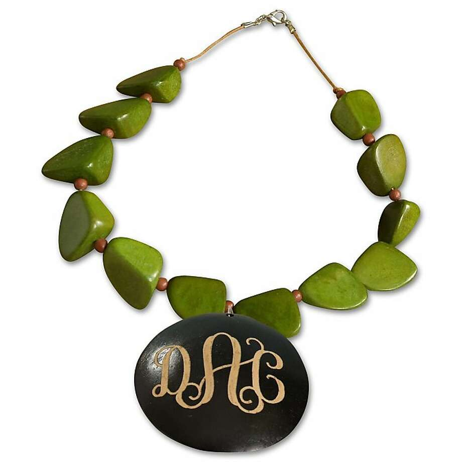 Monogrammed Chunky Wood Necklace in green Price:     $34.00 Photo: The Stationary Studio