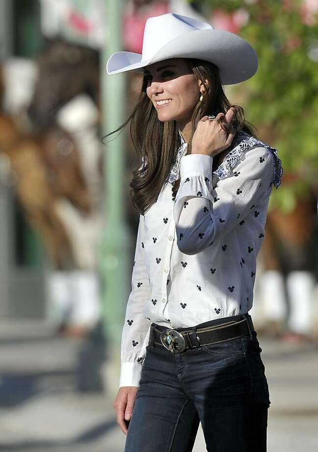Kate, the Duchess of Cambridge, attends a rodeo demonstration at the Calgary Stampede on Thursday, July 7, 2011, in Calgary, Alberta. Photo: Nathan Denette, AP