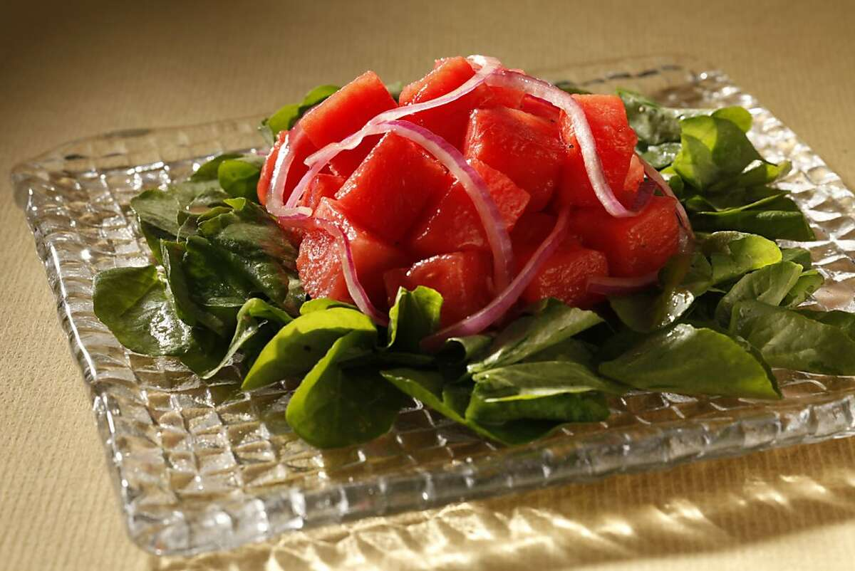 Watermelon & Onion Salad, from chef Jerimiah Tower. Styling by Rochelle Vurek.