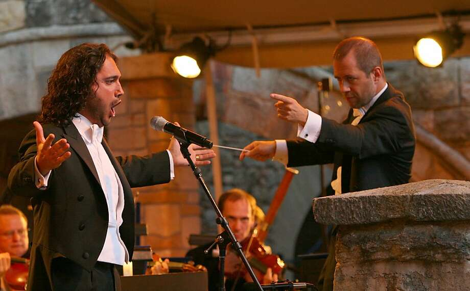 Napa Valley's Festival del Sole, a summer classic music festival, celebrated its fifth anniversay in July 2010. Here, tenor Francesco Demuro and conductor Carlo Montanaro perform at Castello di Amorosa. At a post-concert dinner that night took place in the barrel room at Castello di Amorosa, Demuro got up at dinner a few times to sing a few arias as well to the delight of those attending. Photo: Jim Sullivan