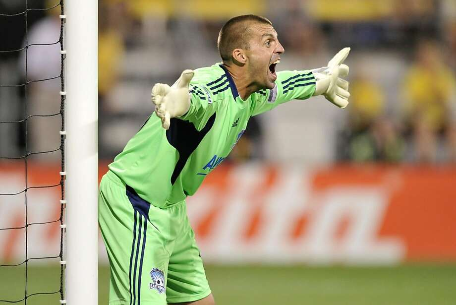 Goalkeeper Jon Busch #18 of the San Jose Earthquakes shouts to his teammates trying to get their attention before a free kick against the Columbus Crew on July 16, 2011 at Crew Stadium in Columbus, Ohio. San Jose and Columbus played to a 0-0 tie. Photo: Jamie Sabau, Getty Images