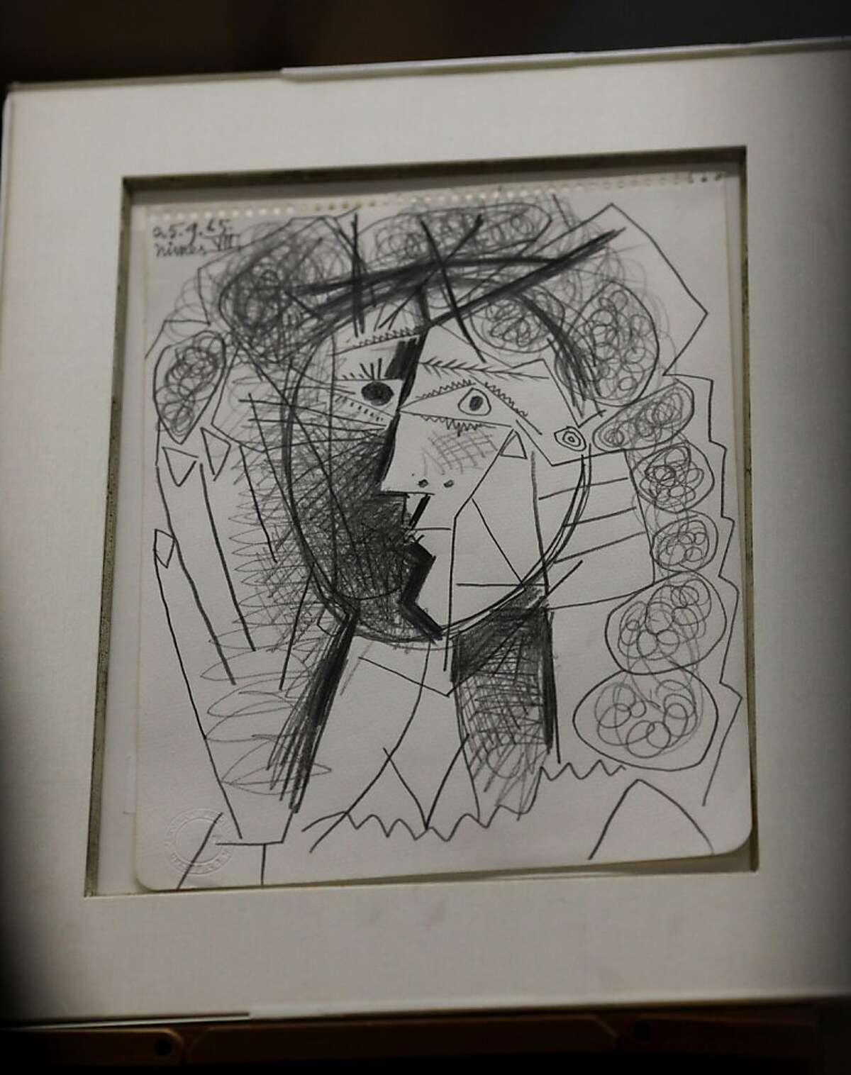 The stolen Picasso sketch was on display at the press conference. The San Francisco police department announced the recovery of a Picasso sketch Thursday July 7, 2011. The sketch was stolen from a San Francisco, Calif. gallery earlier this week.