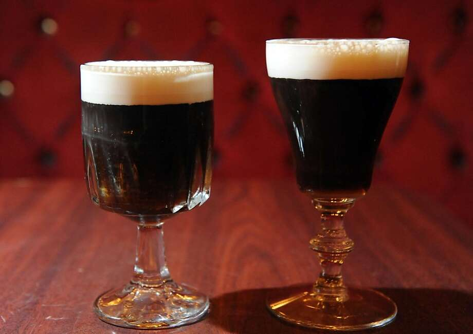 Two Irish coffees are seen at the Gold Dust Lounge on July 15, 2011. The original Irish coffee glasss is on the right and a substitute glass is on the left. The original glasses were discontinued and the Gold Dust Lounge has been using glasses like you see on the left. With the news that they will now be able to obtain the original glasses they have started using the original glasses that they had in stock. Photo: Susana Bates, Special To The Chronicle