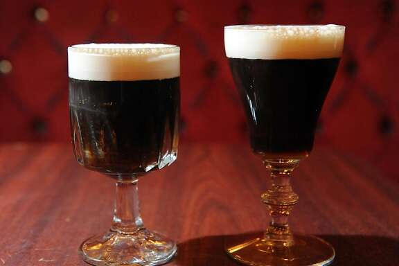 Two Irish coffees are seen at the Gold Dust Lounge on July 15, 2011. The original Irish coffee glasss is on the right and a substitute glass is on the left. The original glasses were discontinued and the Gold Dust Lounge has been using glasses like you see on the left. With the news that they will now be able to obtain the original glasses they have started using the original glasses that they had in stock.