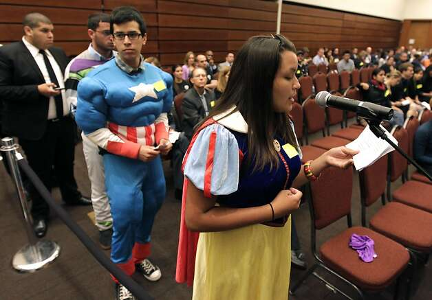 Snow White, aka Giselle Armendariz, asks UC regents to vote against a 9.6 percent hike in tuition in San Francisco, Calif. on Thursday, July 14, 2011. Photo: Paul Chinn, The Chronicle