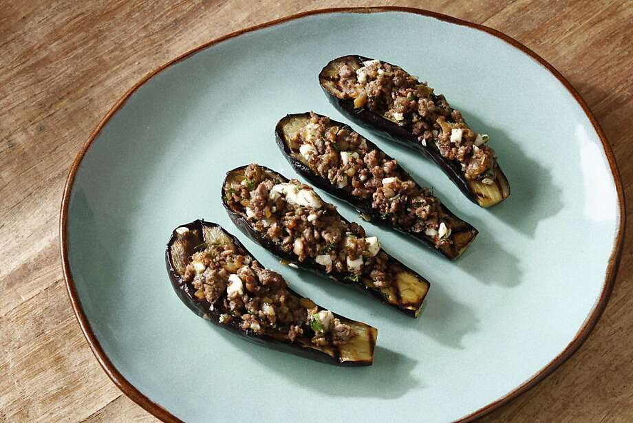 Grilled Eggplant With Lamb Stuffing will pair well with a Pinot Noir. Photo: Craig Lee, Special To The Chronicle