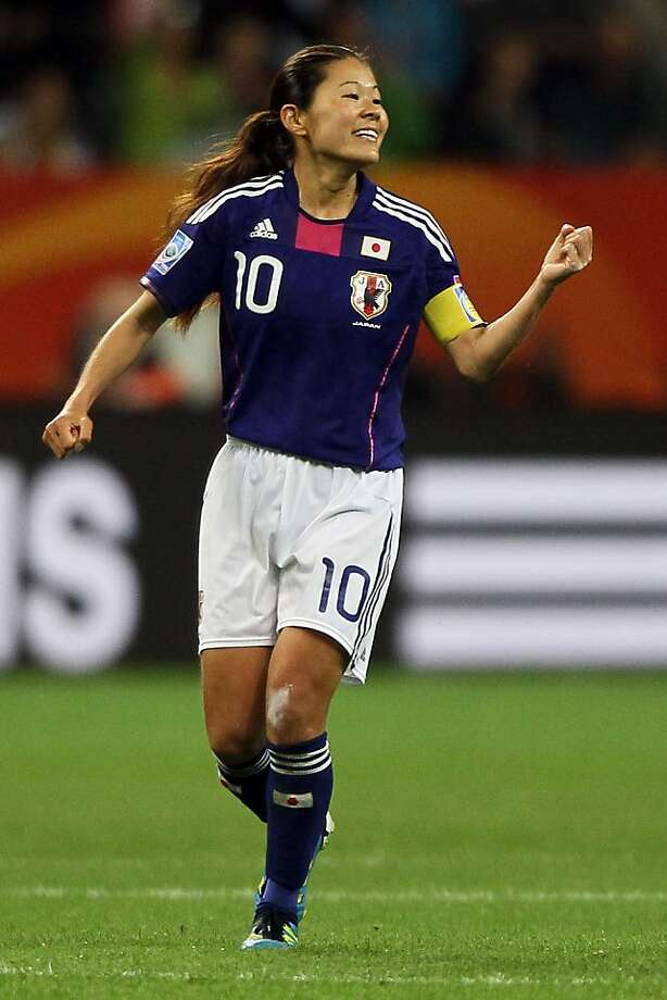 FRANKFURT AM MAIN, GERMANY - JULY 13:  Homare Sawa of Japan celebrates the second goal during the FIFA Women's World Cup Semi Final match between Japan and Sweden at the FIFA World Cup stadium Frankfurt on July 13, 2011 in Frankfurt am Main, Germany. Photo: Christof Koepsel, Getty Images