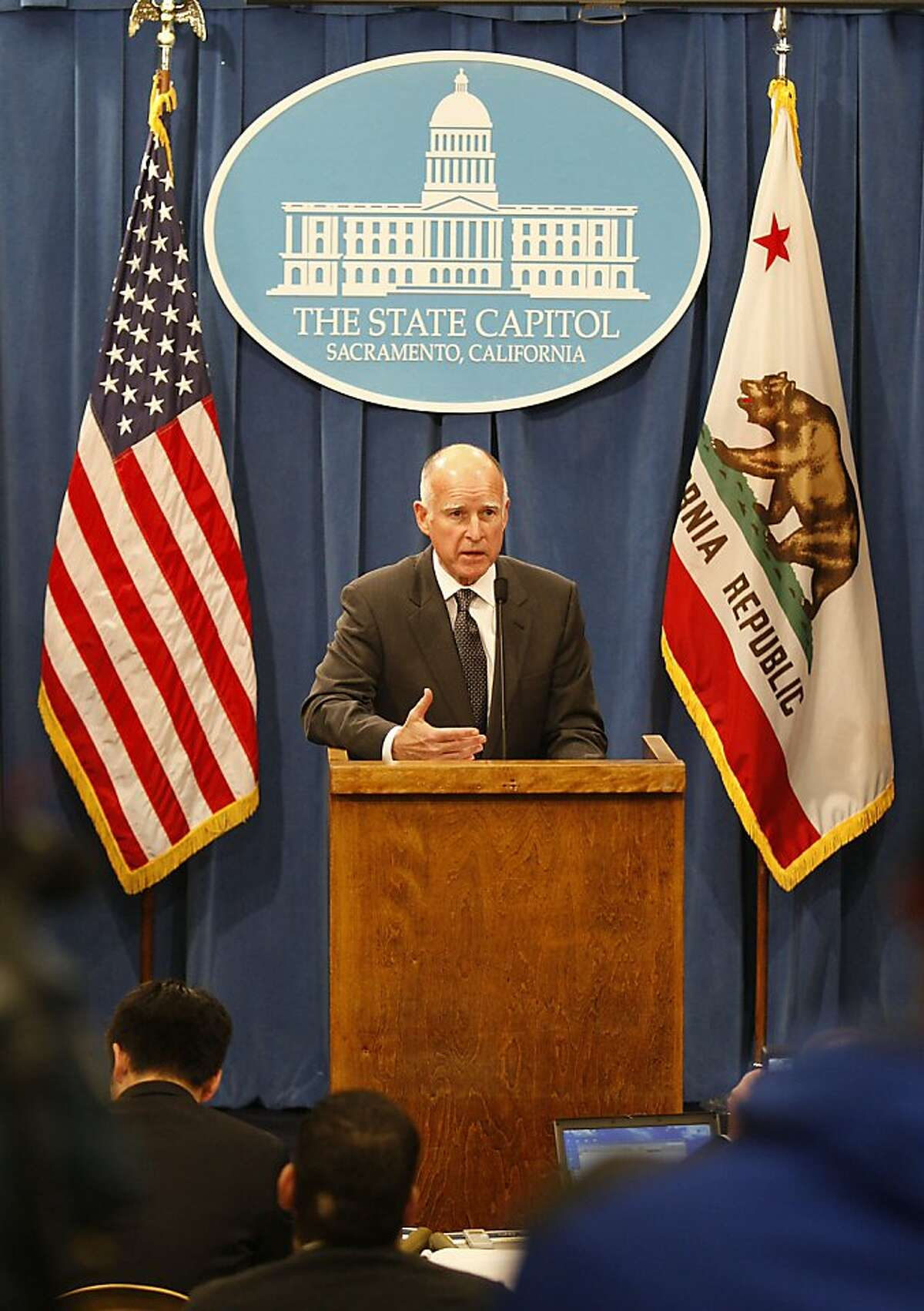 Governor Jerry Brown introduces his January budget proposal on Monday morning, January 10, 2011, at the state capitol in Sacramento, Calif.