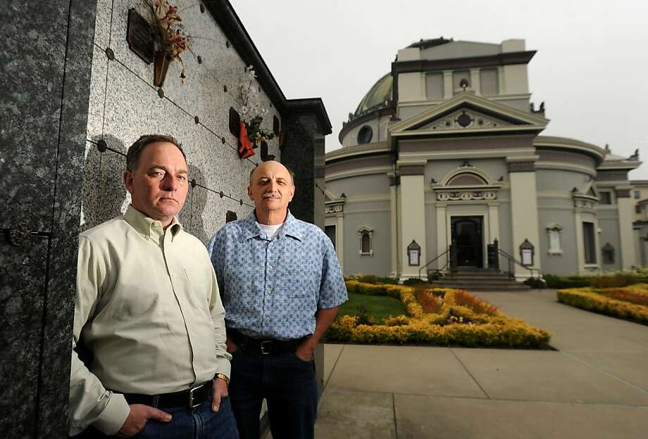 Kevin Paulson, left, and Mike Gunn, director of Garden of Innocence/Bay Area, stand at the Columbarium on Friday, July 15, 2011, in San Francisco. Photo: Noah Berger, Special To The Chronicle