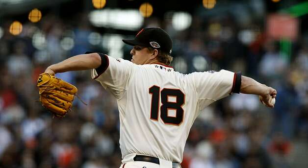 San Francisco Giants starting pitcher Matt Cain (18) delivers a pitch to the San Diego Padres during the first inning of a baseball game, Tuesday, July 5, 2011, in San Francisco. Photo: Lance Iversen, The Chronicle
