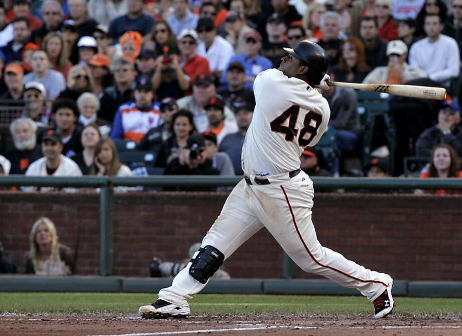 San Francisco Giants Pablo Sandoval hits a double in the third inning against the New York Mets, Sunday July 10, 2011, at At&T Park in San Francisco, Calif. Photo: Lacy Atkins, The Chronicle