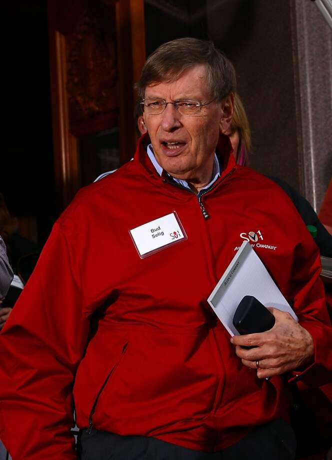 "Allan ""Bud"" Selig, commissioner of Major League Baseball (MLB), attends the Allen & Co. Media and Technology Conference in Sun Valley, Idaho, U.S., on Friday, July 8, 2011. Media executives are gathering at Allen & Co.'s Sun Valley conference this week looking to shed assets such as the Hulu LLC video website and G4 game channel amid a declining global stock market and slowing economic growth. Photographer: Matthew Staver/Bloomberg *** Local Caption *** Allan ""Bud"" Selig Photo: Matthew Staver, Bloomberg"