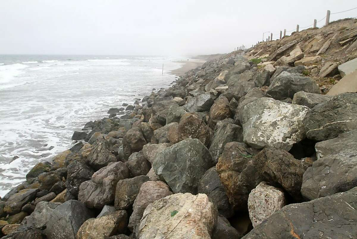 The Department of Public Works placed boulders along the bluffs at Ocean Beach just south of Sloat Blvd. in an effort to slow erosion from wave action. San Francisco could get permission to install more rocks and two new walls of pilings at Ocean Beach under a permit the California Coastal Commission will consider Wednesday.