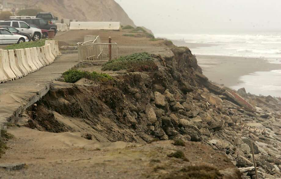 Increase erosion during the winter of 2010 has caused road closures and the city to seek more reinforcement in the area. San Francisco could get permission to install more rocks and two new walls of pilings at Ocean Beach under a permit the California Coastal Commission will consider Wednesday. Photo: Mathew Sumner, Special To The Chronicle