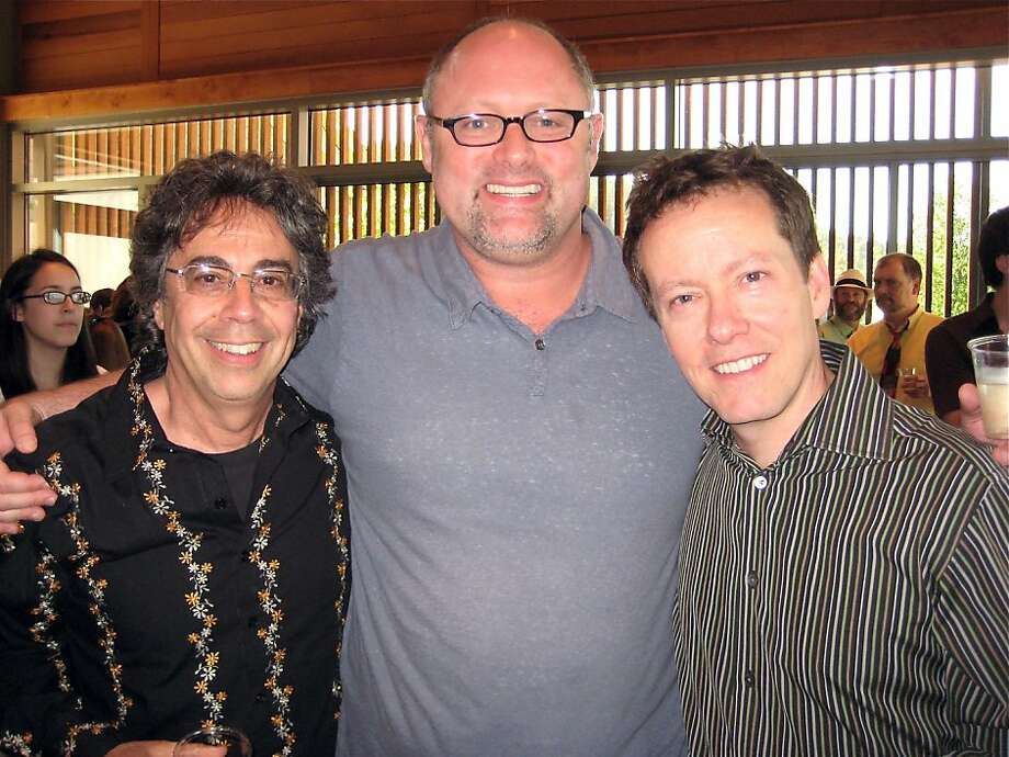 Berkeley Rep Artistic Director Tony Taccone (left) with CalShakes Artistic Director Jonathan Moscone and actor Christopher Liam Moore at the Ghost Light premiere in Ashland. July 2011. By Catherine Bigelow. Photo: Catherine Bigelow, Special To The Chronicle