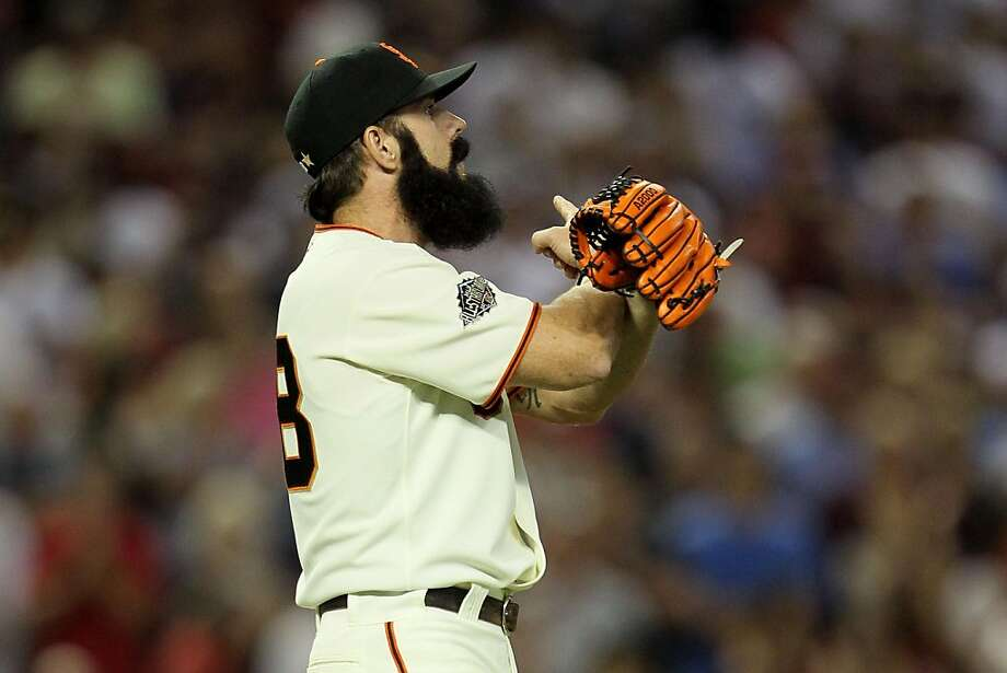 PHOENIX, AZ - JULY 12:  National League All-Star Brian Wilson #38 of the San Francisco Giants reacts after making the save to win the 82nd MLB All-Star Game at Chase Field on July 12, 2011 in Phoenix, Arizona. The National League defeated the American League 5-1. Photo: Jeff Gross, Getty Images