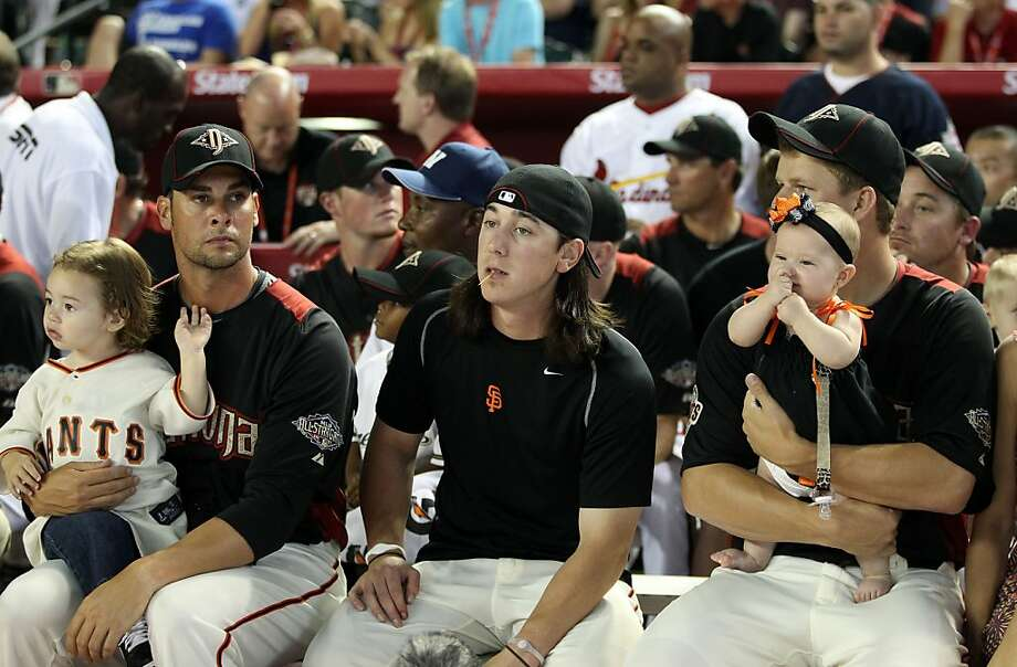 Ryan Vogelsong sits with Tim Lincecum and Matt Cain during the 2011 State Farm Home Run Derby at Chase Field in Phoenix. Photo: Christian Petersen, Getty Images