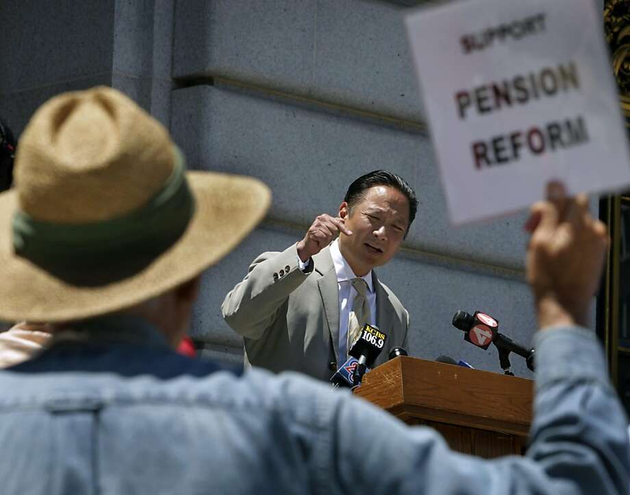 Supporter Richard Hansen, foreground, attends a news conference by Public Defender Jeff Adachi, who urges voters to sign a petition to place a comprehensive pension reform measure on the November ballot at a City Hall news conference in San Francisco, Calif. on Wednesday, July 6, 2011.  Several thousand signatures are needed before next week's deadline. Photo: Paul Chinn, The Chronicle