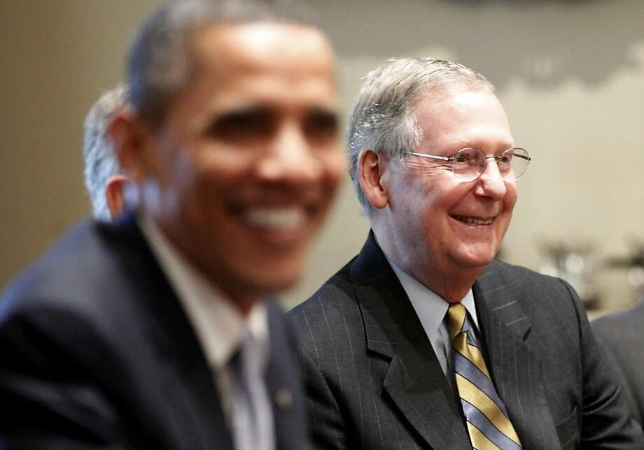 Senate Minority Leader Mitch McConnell of Ky., right, and other Congressional leaders meet with President Barack Obama, regarding the debt ceiling, Wednesday, July 13, 2011, in the Cabinet Room of the White House in Washington. Photo: Charles Dharapak, AP