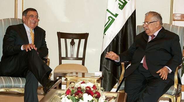 US Secretary of Defense Leon Panetta (L) and Iraqi President Jalal Talabani meet inside the Presidential Guest House in Baghdad, on July 11, 2011. Photo: Paul J. Richards, AFP/Getty Images