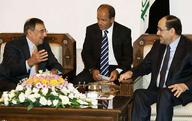 US Secretary of Defense Leon Panetta (L) meets with Iraqi Prime Minister Nuri al-Maliki at the Prime Ministers residence in Baghdad, on July 11, 2011. Photo: Paul J. Richards, AFP/Getty Images