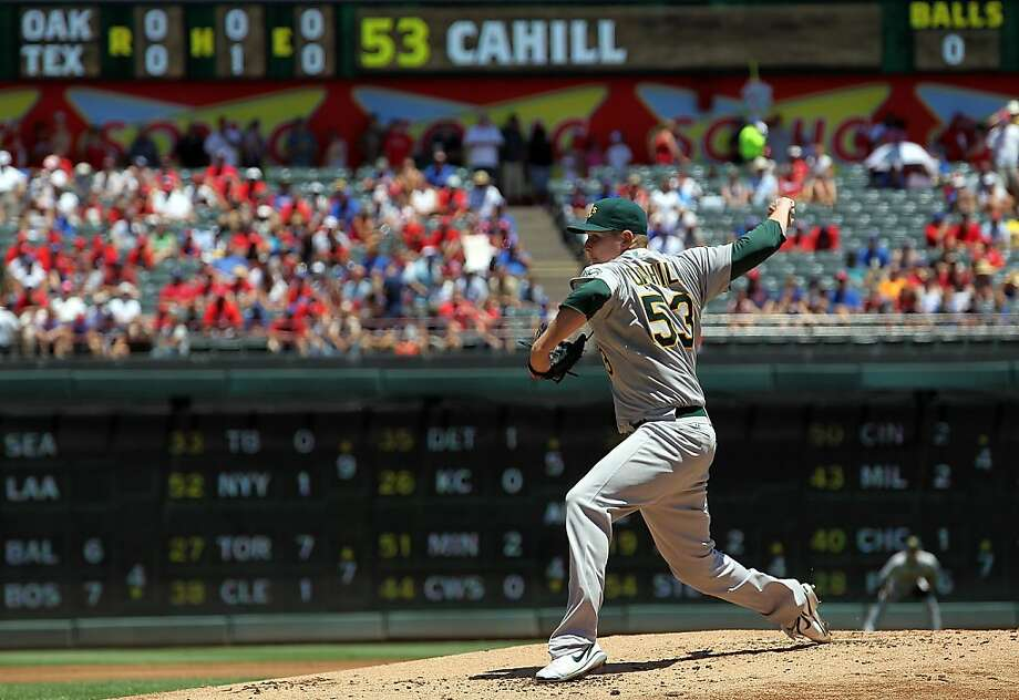 ARLINGTON, TX - JULY 10:  Trevor Cahill #53 of the Oakland Athletics throws against the Texas Rangers in the first inning at Rangers Ballpark in Arlington on July 10, 2011 in Arlington, Texas. Photo: Ronald Martinez, Getty Images
