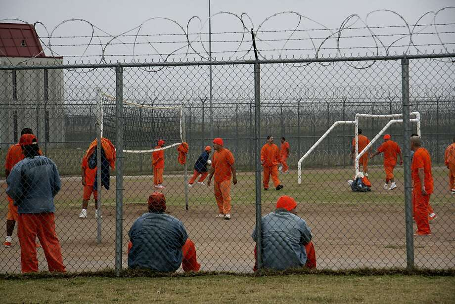 Prisoners in an exercise yard at the North Fork Correctional Facility which houses some California inmates. Photo: Corrections Corporation Of Ameri