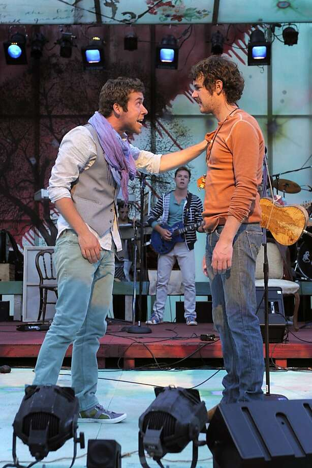 """Valentine (Nate Trinrud, left) tells Proteus (Dan Clegg) that he's leaving for the Big City in the California Shakespeare Theater world premiere of Amanda Dehnert's """"The Verona Project"""" Photo: Kevin Berne"""