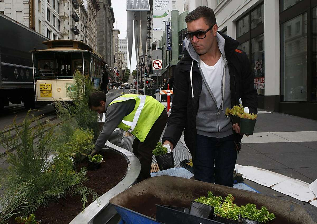 A two-block stretch of parklets on Powell Street between Eddy and Geary streets in San Francisco, Calif., on Tuesday, July 12, 2011, which will be ready for public use tomorrow as planters are being filled by landscape architect Daniel Nolan.