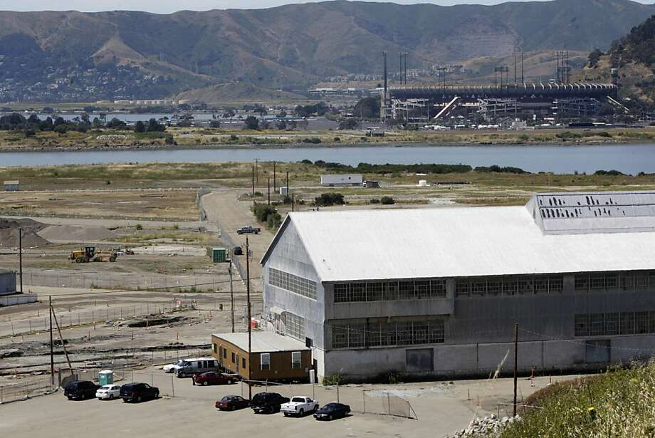 Part of the Hunters Point Shipyard redevelopment project is seen with Candlestick Park in the background in San Francisco, Calif. on Wednesday June 2, 2010. Photo: Lea Suzuki, The Chronicle