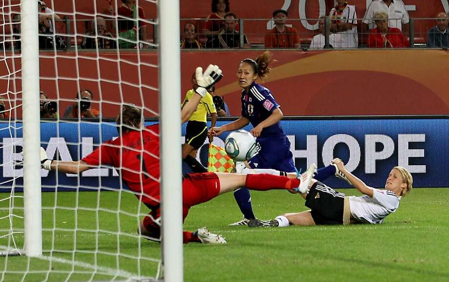WOLFSBURG, GERMANY - JULY 09:  Karina Maruyama of Japan scores their first goal during the FIFA Women's World Cup 2011 Quarter Final match between Germany and Japan at Wolfsburg Area on July 9, 2011 in Wolfsburg, Germany. Photo: Scott Heavey, Getty Images