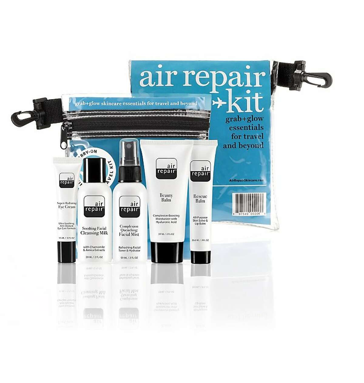 The Air Repair® Skincare Kit retails for $34.95. The kit includes: 1. Air Repair Soothing Facial Cleansing Milk: Contains chamomile and arnica extracts. 2. Air Repair Complexion Quenching Facial Mist: Refreshing facial toner and hydrator. 3. Air Repair Rescue Balm: All Purpose skin salve and lip balm. 4. Air Repair Beauty Balm: A complexion-boosting moisturizer with Hyaluronic Acid. 5. Air Repair Super Hydrating Eye Cream: Soothing line-minimizing formulation.
