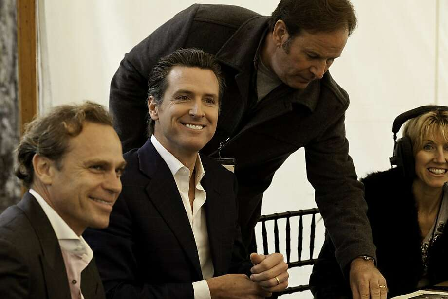 Lt. Govenor Gavin Newsom, Jean-Charles Boisset (left) and Delia Viader (far right with headset on)  at the Napa Valley Auction and the Napa Vintners' annual charity gala at Meadowood in St. Helena, California, on Saturday, June 4, 2011. Photo: Craig Lee, Special To The Chronicle